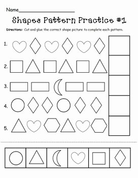 Patterns Worksheet for Kindergarten Inspirational Shapes Pattern Practice Page by the Mcgrew Crew