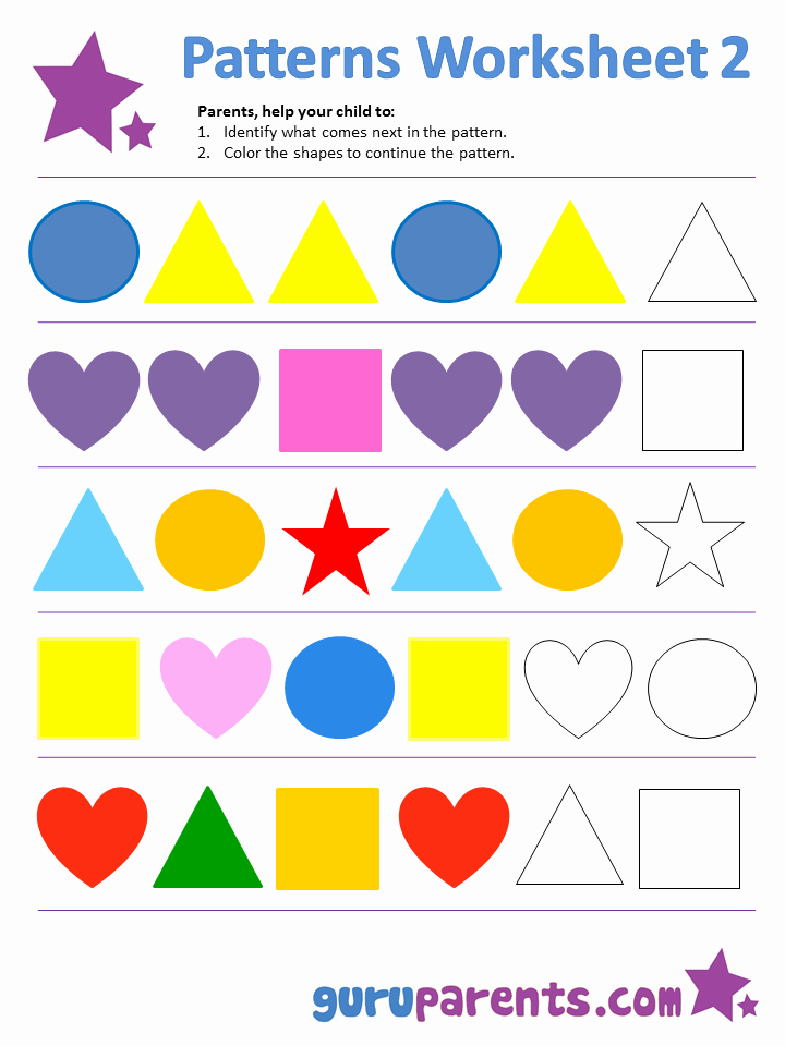 Patterns Worksheet for Kindergarten Lovely Pattern Worksheets