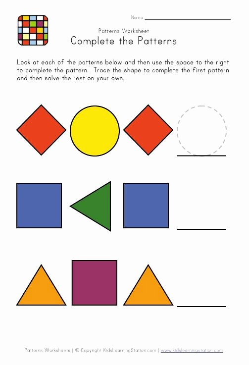 Patterns Worksheet for Kindergarten Luxury Easy Preschool Patterns Worksheet 1