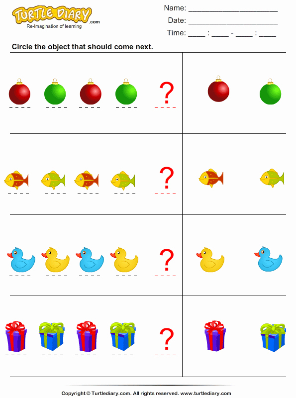 Patterns Worksheet for Kindergarten Luxury Identify Pattern Worksheet 2 Turtle Diary