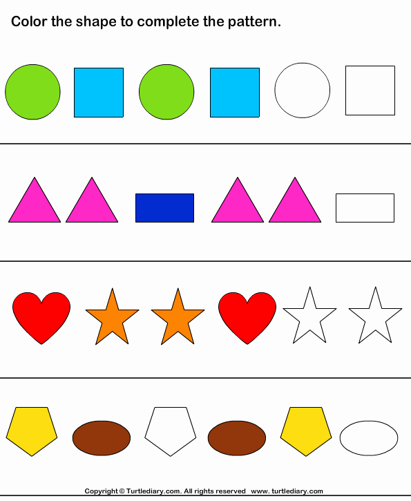 Patterns Worksheet for Kindergarten New Color the Shapes to Continue Patterns Worksheet Turtle Diary