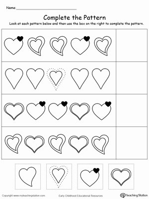 Patterns Worksheet for Kindergarten New Kindergarten Patterns Printable Worksheets