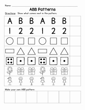 Patterns Worksheet for Kindergarten Unique Aab and Abb Patterns by Livin In A Van Down by the River