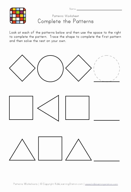 Patterns Worksheet for Kindergarten Unique Kindergarten Pattern Worksheets