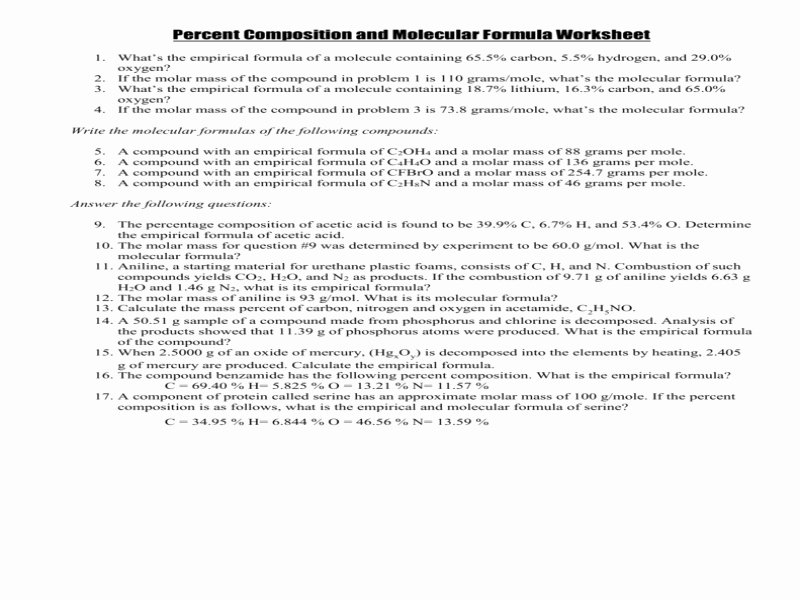 Percent Composition Worksheet Answers Fresh Percent Position and Molecular formula Worksheet
