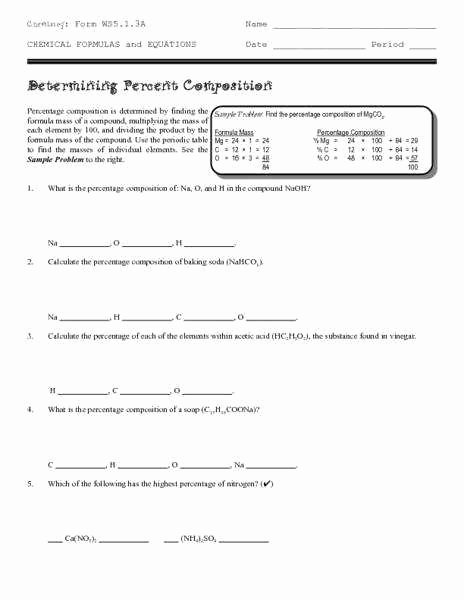 Percent Composition Worksheet Answers Fresh Percentage Position Worksheet Answers