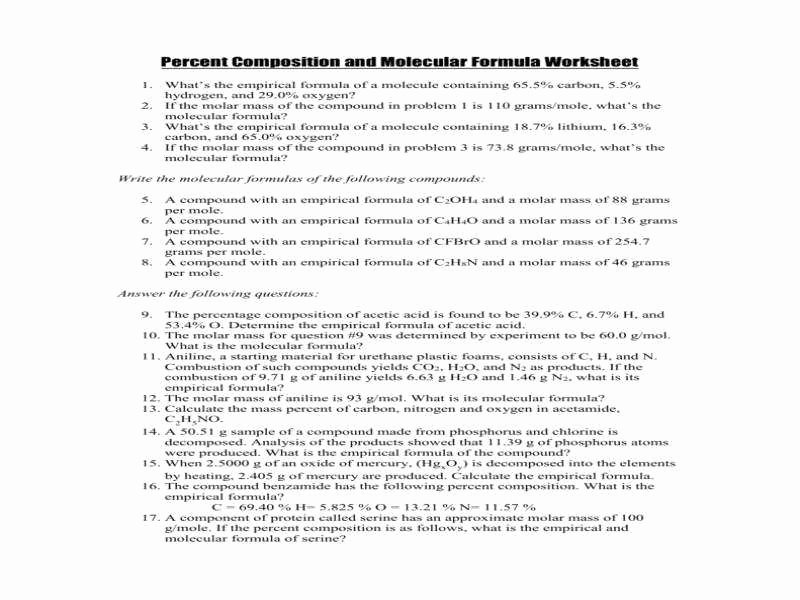 Percent Composition Worksheet Answers New Percent Position Worksheet Answers