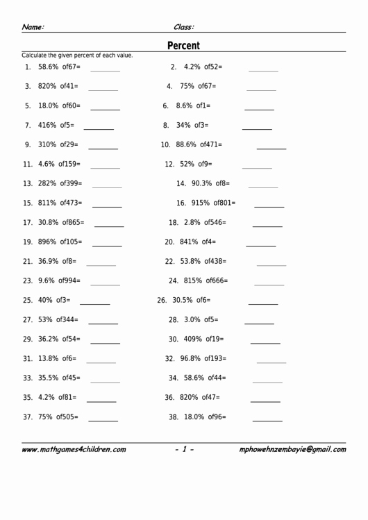 Percent Error Worksheet Answer Key Elegant top 50 Percentage Worksheet Templates Free to In