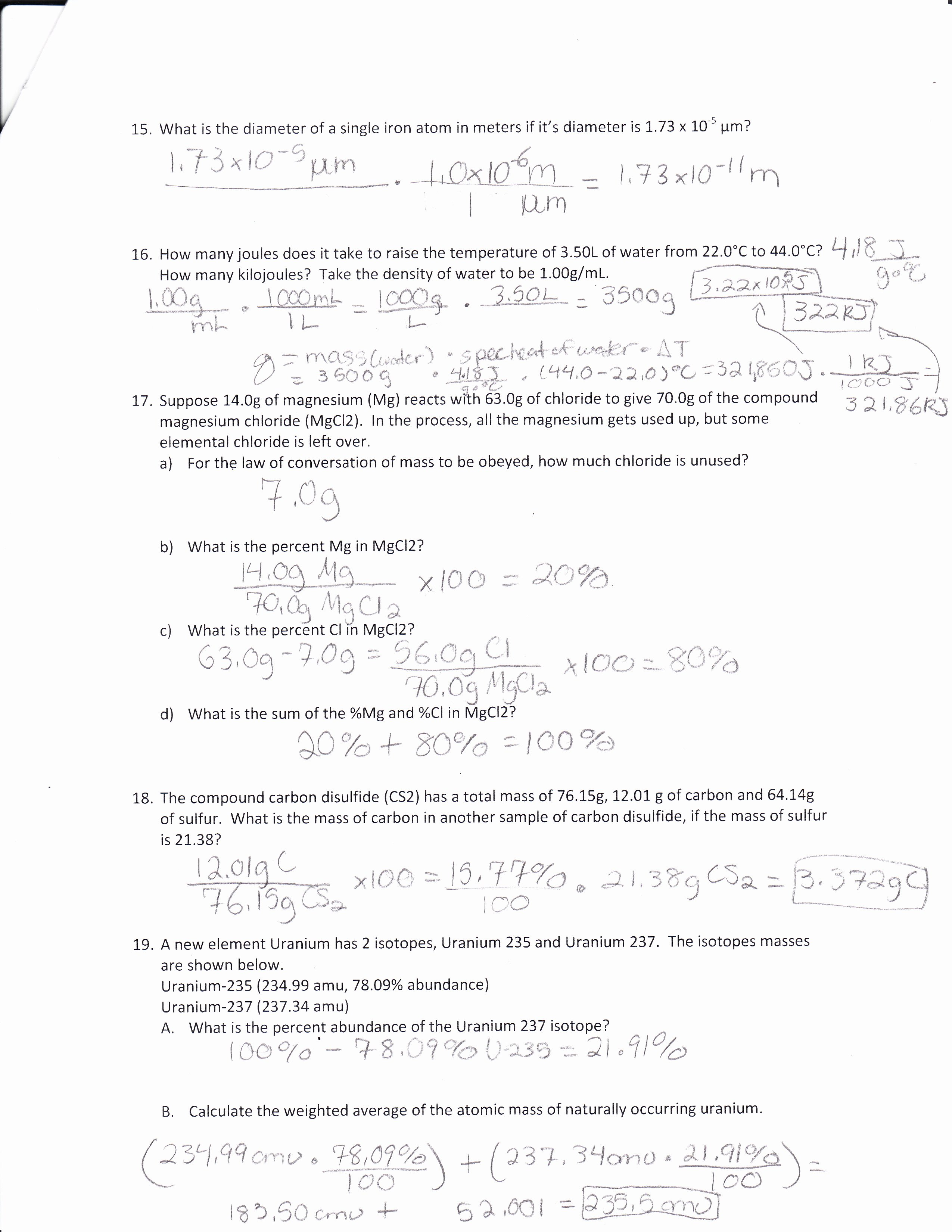 Percent Error Worksheet Answer Key Luxury Calculating Percent by Mass Volume Chem Worksheet 15 2