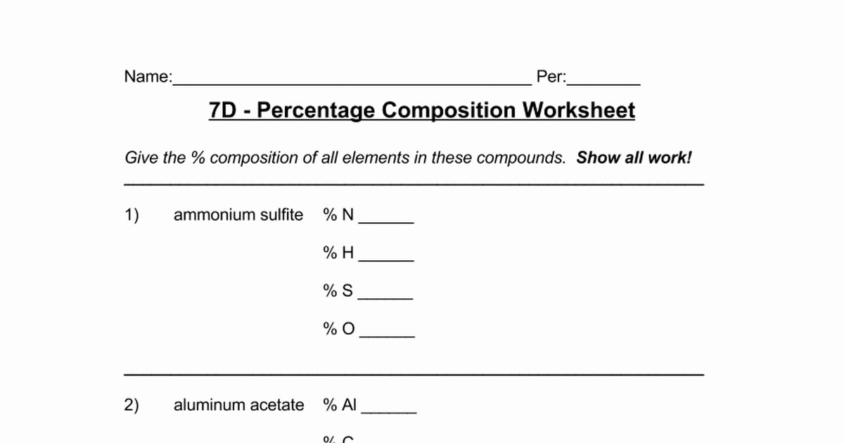 Percent Error Worksheet Answer Key Luxury Percentage Position Worksheet Answers