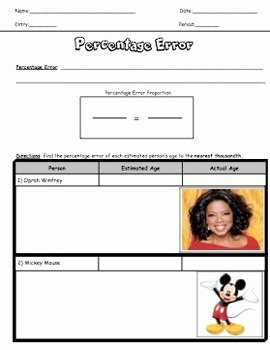 Percent Error Worksheet Answers Fresh Percentage Error Worksheet Guided Notes by the Koalafied