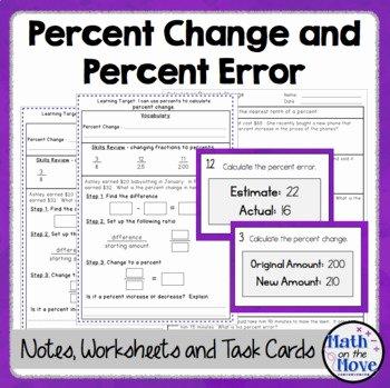 Percent Error Worksheet Answers New Percent Change and Percent Error Notes and Worksheet by
