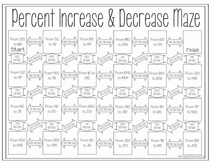 Percentage Increase and Decrease Worksheet Beautiful Percent Increase and Decrease Maze Worksheet