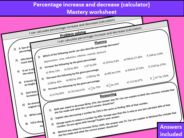 percentage increase and decrease calculator mastery worksheet