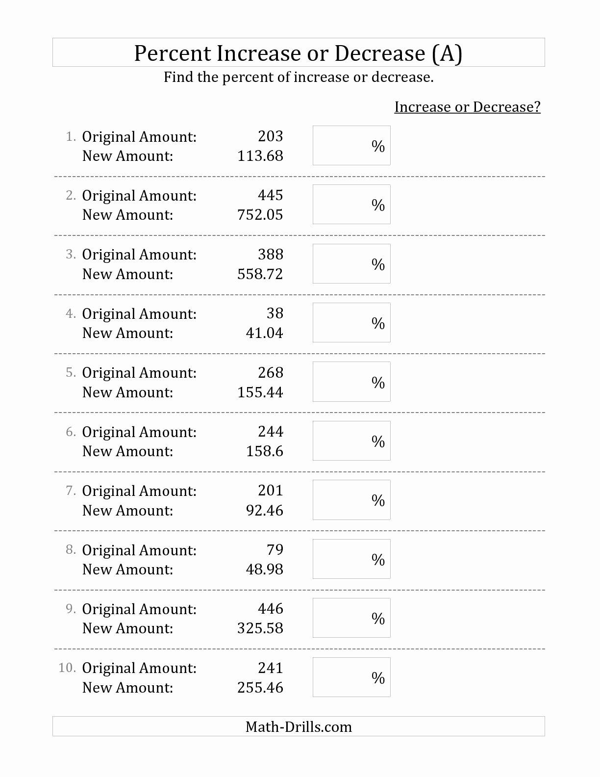 Percentage Increase and Decrease Worksheet Fresh 10 Best Of Percent Change Worksheet Math Percent