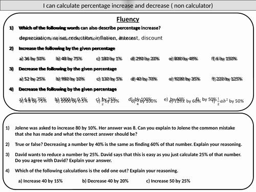 Percentage Increase and Decrease Worksheet Inspirational Percentage Increase and Decrease Non Calculator