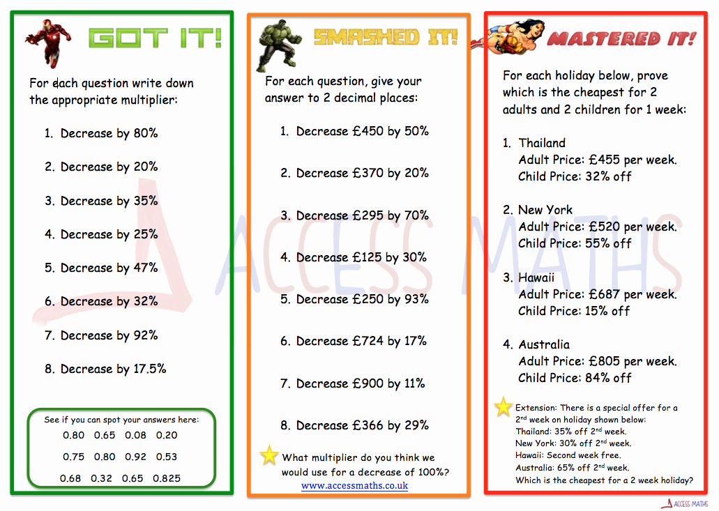 Percentage Increase and Decrease Worksheet Lovely 8 Of the Best Percentage Increase and Decrease Teaching