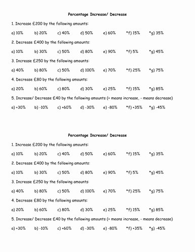 Percentage Increase and Decrease Worksheet Lovely Percent Change Worksheet