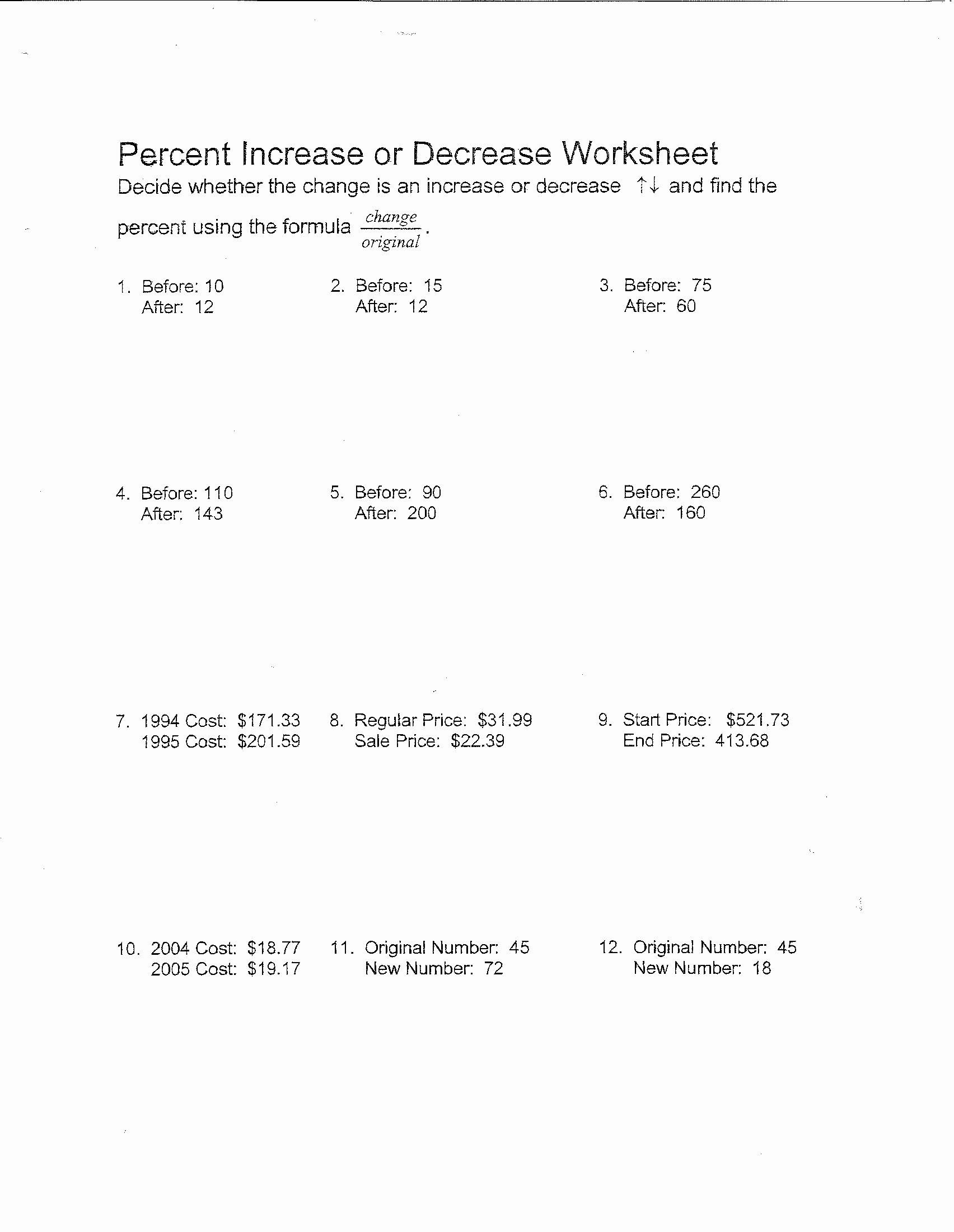 Percentage Increase and Decrease Worksheet New 10 Best Of Percent Change Worksheet Math Percent