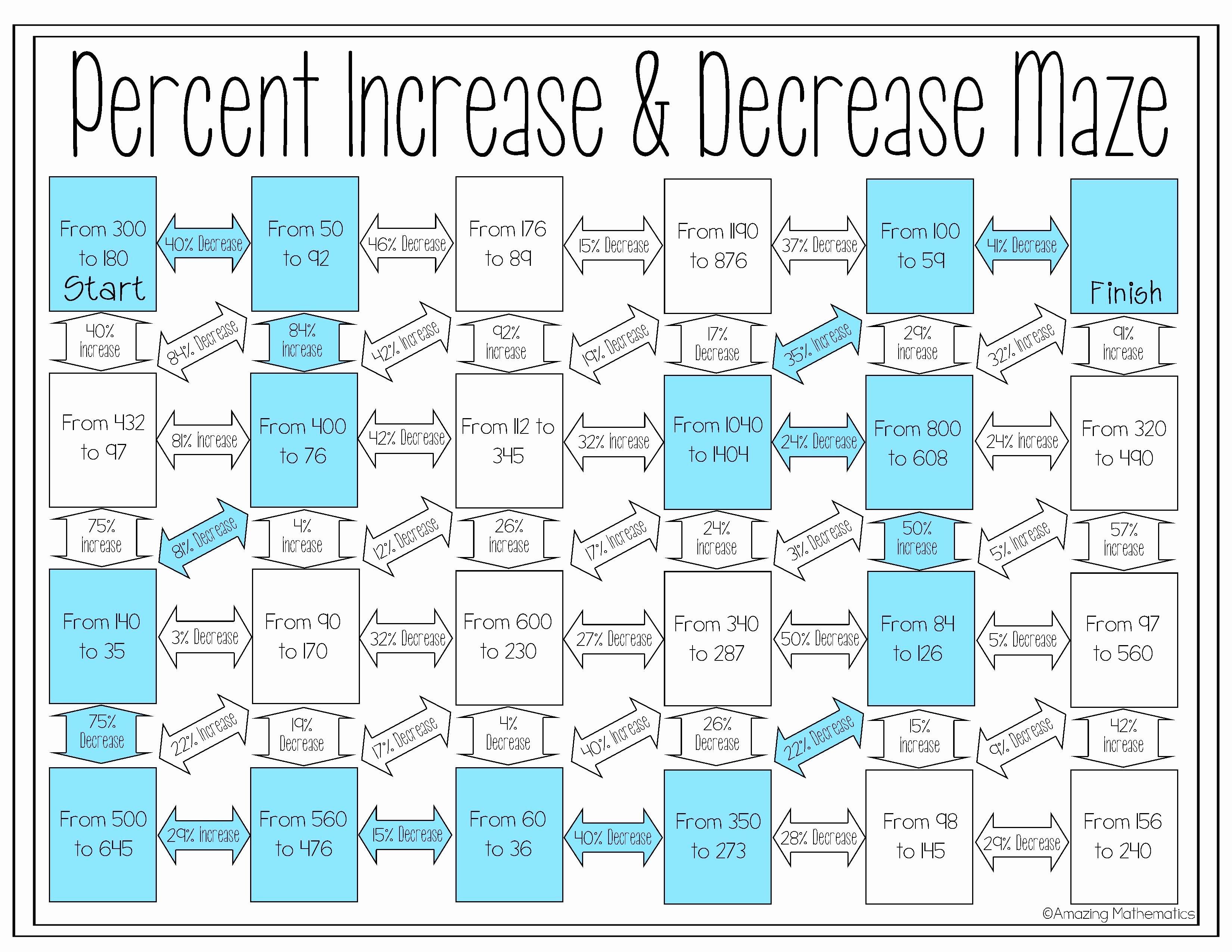 Percentage Increase and Decrease Worksheet Unique Percent Increase and Decrease Maze Worksheet