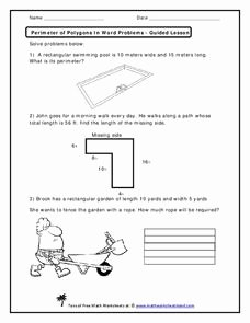 Perimeter Word Problems Worksheet Awesome Perimeter Of Polygons In Word Problems Worksheet for 2nd