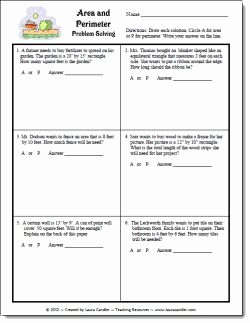 Perimeter Word Problems Worksheet Beautiful area and Perimeter Word Problems Free In Laura Candler S
