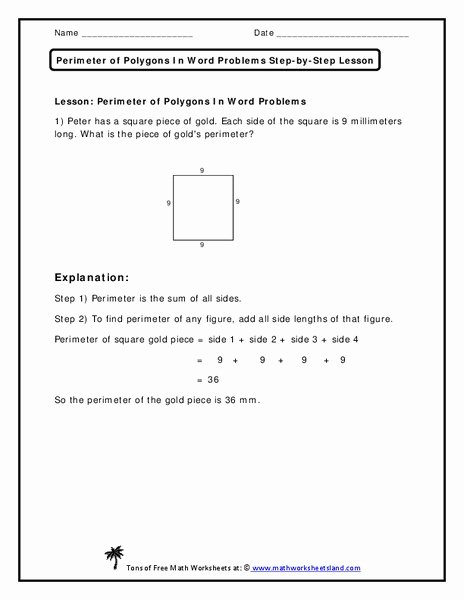 Perimeter Word Problems Worksheet Best Of Perimeter Of Polygons In Word Problems Worksheet for 2nd