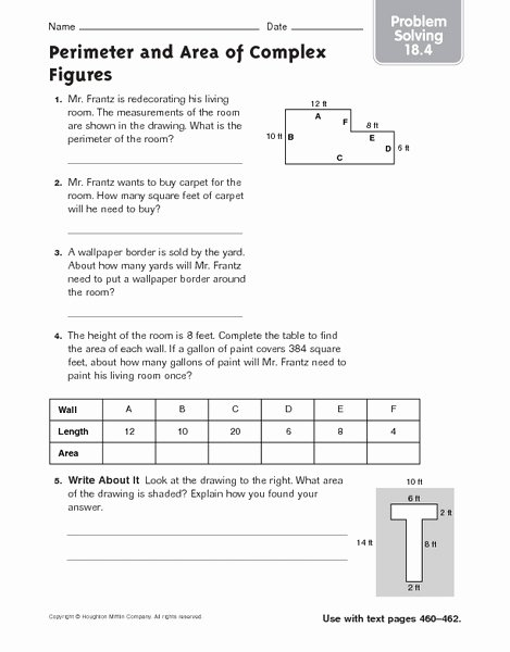 Perimeter Word Problems Worksheet Elegant Perimeter and area Of Plex Figures Problem solving 18 4