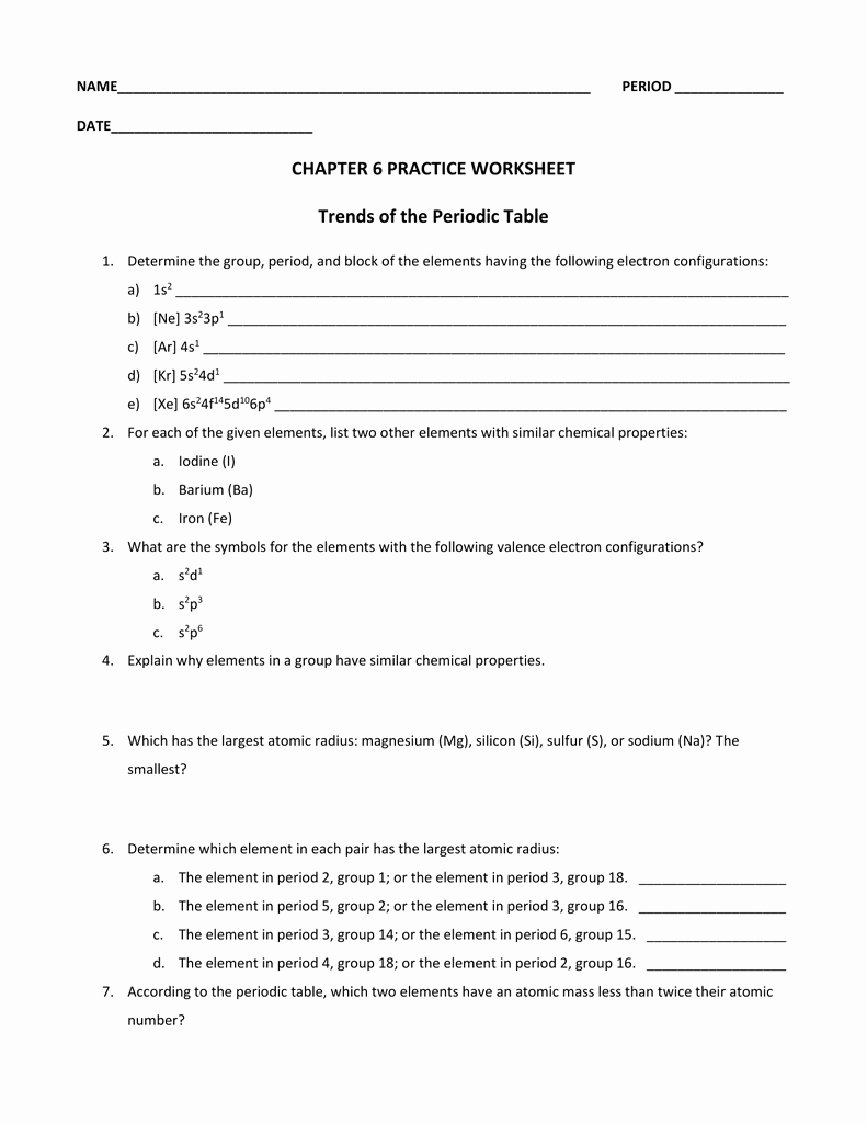 Periodic Table Of Elements Worksheet Best Of Chapter 6 Practice Worksheet Trends Of the Periodic Table