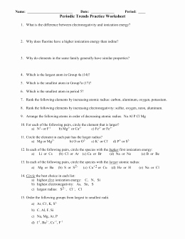 Periodic Table Practice Worksheet Awesome Periodictrends Ws Key1