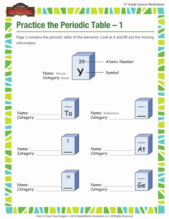 Periodic Table Practice Worksheet Best Of Practice the Periodic Table – 1 Worksheet – 5th Grade – sod