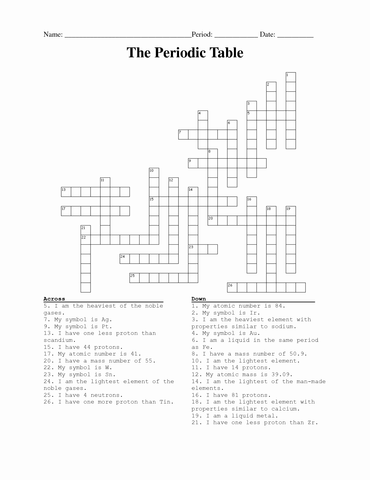 Periodic Table Puzzle Worksheet Beautiful ️ Periodic Table assignment Crossword Puzzle Answers