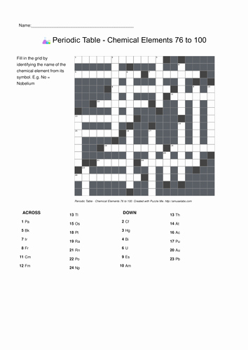 Periodic Table Puzzle Worksheet Best Of Puzzle Me Periodic Table Crosswords by Puzzleme