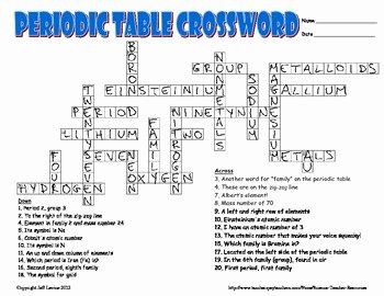 Periodic Table Puzzle Worksheet Inspirational Periodic Table Crossword Puzzle by Science Teacher