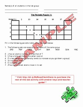 Periodic Table Puzzle Worksheet New Activity Periodic Puzzle the Placements Of Elements On