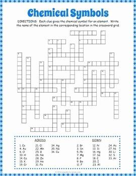 Periodic Table Puzzle Worksheet Unique Chemical Symbols Crossword Puzzle Testing