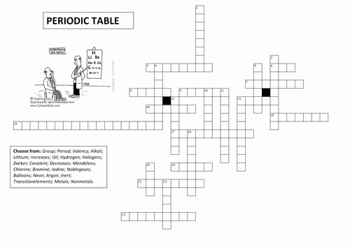Periodic Table Puzzle Worksheet Unique Periodic Table Crossword by Neilz12 Teaching Resources Tes