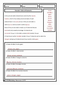 Periodic Table Review Worksheet Elegant Back to School Periodic Table Of Elements Homework Review