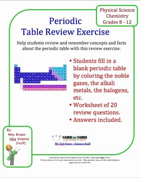 Periodic Table Review Worksheet New Periodic Table Review by Amy Brown Science