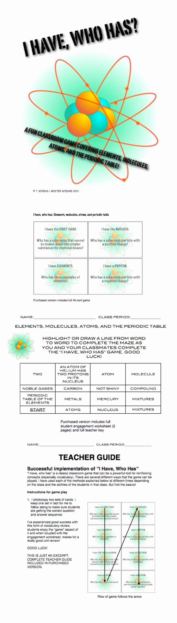 Periodic Table Review Worksheet Unique I Have who Has Game atoms Periodic Table Molecules Chem