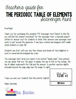 Periodic Table Scavenger Hunt Worksheet Fresh Periodic Table Of Elements Scavenger Hunt Packet by