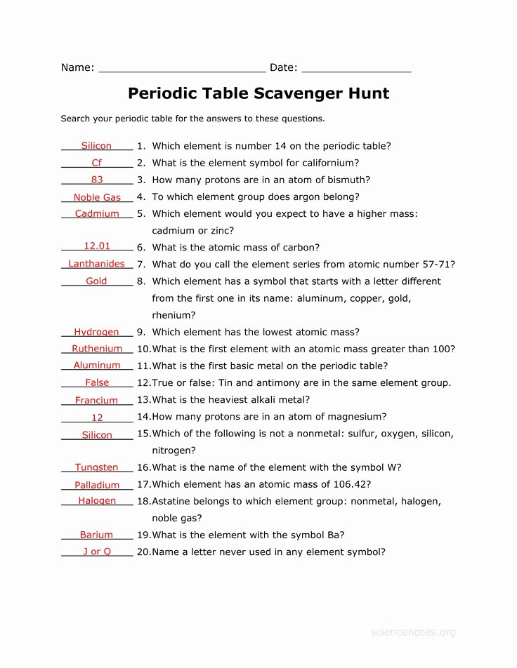 Periodic Table Scavenger Hunt Worksheet Lovely Answer Key to the Periodic Table Scavenger Hunt Worksheet