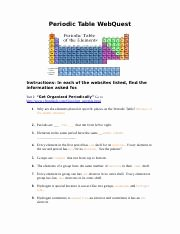 Periodic Table Webquest Worksheet Answers Awesome Families Of the Periodic Table Webquest Answers Families