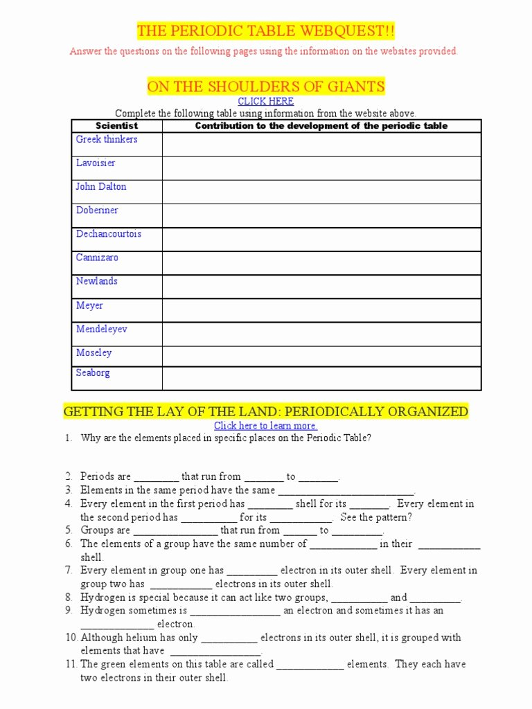 Periodic Table Webquest Worksheet Answers Awesome Periodic Table Website Answers