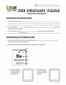 Periodic Table Worksheet Answers Awesome Periodic Table Powerpoint Worksheet Editable by