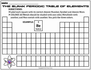 Periodic Table Worksheet High School Lovely Worksheet Blank Periodic Table by Travis Terry