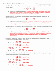 Periodic Trends Worksheet Answer Key Elegant Periodic Trends Worksheet