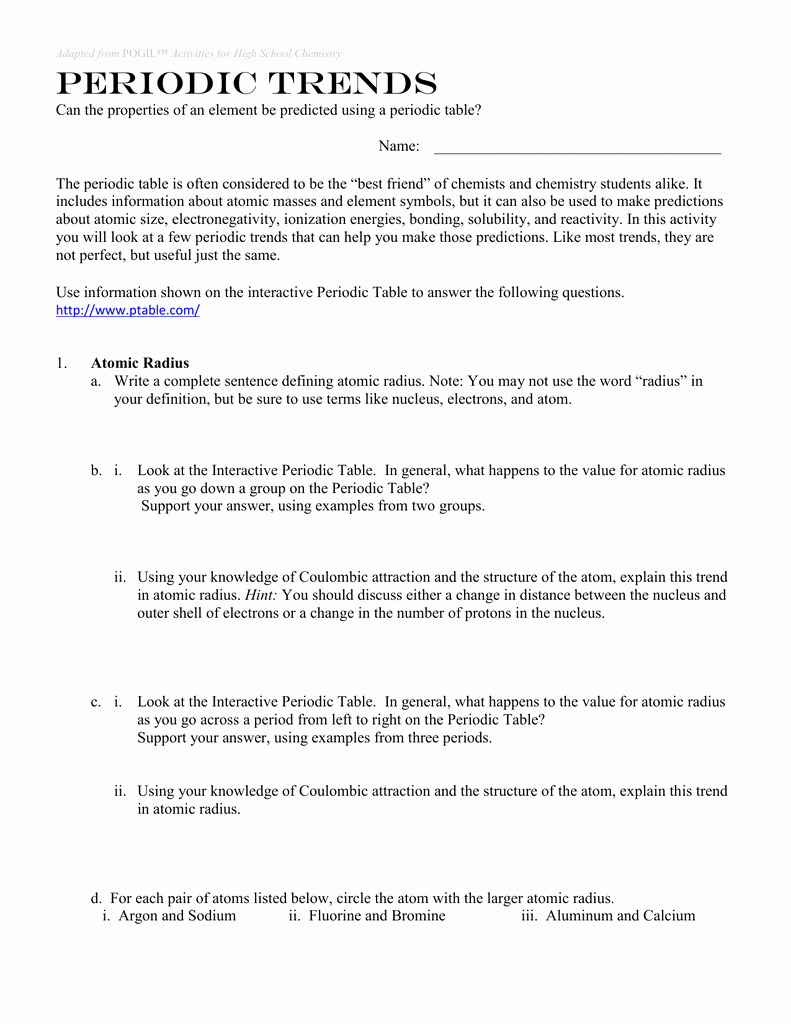 Periodic Trends Worksheet Answer Key Fresh Periodic Trends Worksheet Answer Key Pogil Geo