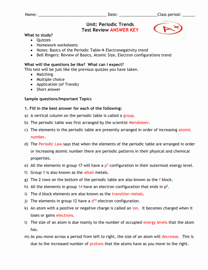 Periodic Trends Worksheet Answer Key Luxury Chemical Elements and Periodic Table Symbols Quiz