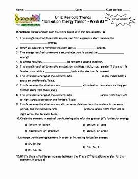 Periodic Trends Worksheet Answer Key Luxury Lesson Plan Periodic Trends Ionization Energy Trend by
